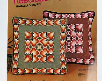 Bucilla Bargello Needlepoint Pillow Kit by Dorothy Kaestner - Abstract Tulips in Shades of Coral and Brown