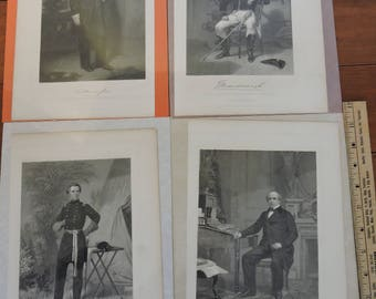 Historical Civil War Engraving of Union Civil, Military And Navel 1860's