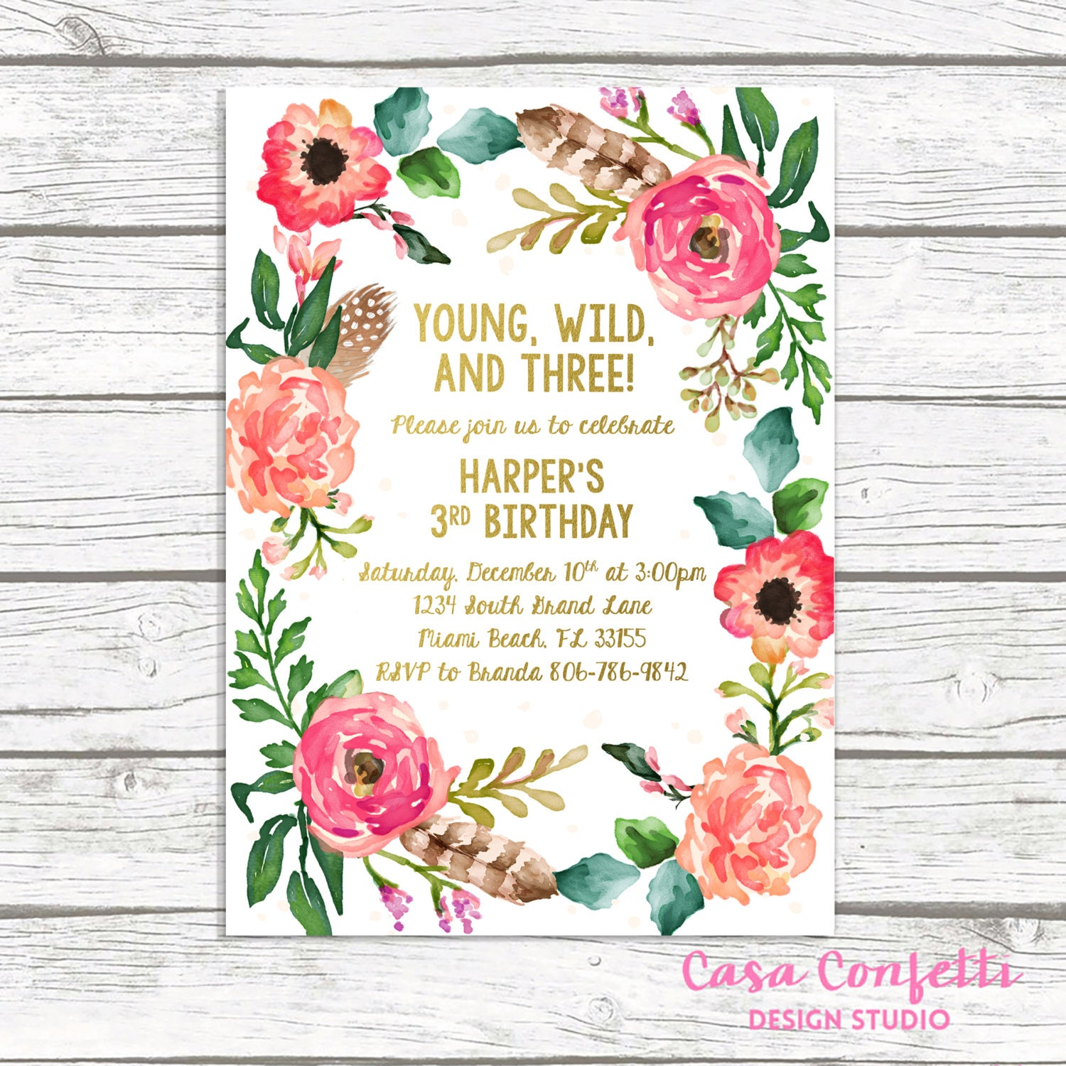 Young wild and three birthday invitation wild and three boho young wild and three birthday invitation wild and three boho birthday invitation girl invite third 3rd birthday floral wreath printable filmwisefo Images