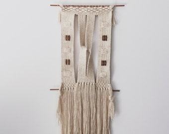 cotton and wood - knot | hand woven wall hanging tapestry weaving
