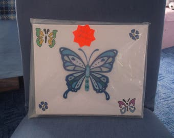 3D blue butteflies with some painted butterflies