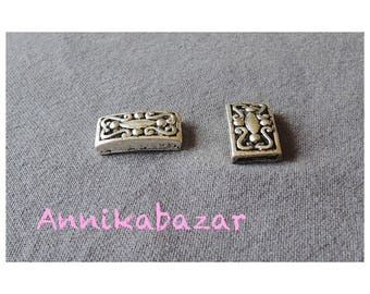 Ethnic, 23 x 12 mm silver metal rectangular bead