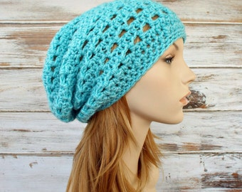 Crochet Hat Women Hat Slouchy Beanie Aqua Hat Aqua Beanie - Aqua Blue Juliet Slouchy Hat - Womens Accessories