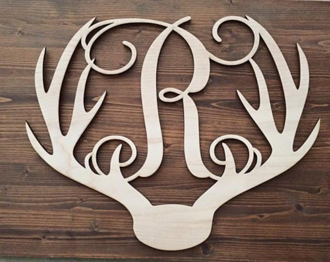 "24"" Wood Deer Antler Monogram Initial Laser Cutout Shape Unfinished"
