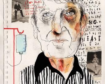 Mark Greene's Father - Original Mixed Media Illustration / Collage