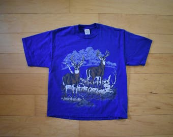 Vintage Blue Deer Tshirt Vintage Animal Tee Unisex Tee Adult Medium