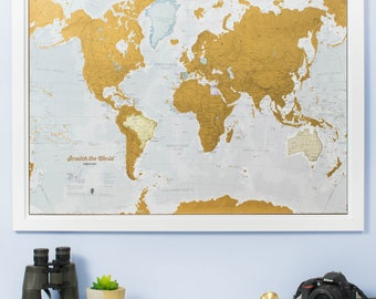 Travel map etsy scratch the world scratch off places you travel map print home decor gumiabroncs Image collections