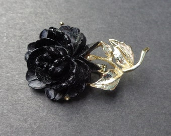 Black Rose Brooch Pin Gold Tone Setting