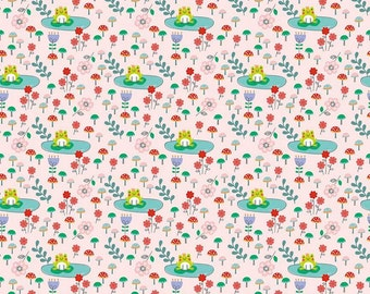 Riley Blake. Princess Dreams. Frog Pink - Cotton Fabric BTY - Choose your cut