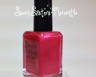 Alcyone - Seven Sisters Nail Lacquer - 15 mL 0.5 Fl Oz. - Pleiades Collection - Shocking Pink Shimmer with  Tonal Duo Chrome Nail Polish