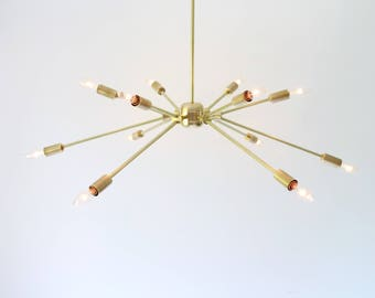 Sputnik Chandelier, Large Starburst Pendant Lighting Fixture, 12 arms, Modern Brass Geometric Chandelier, Bulbs Included, BootsNGus Lighting