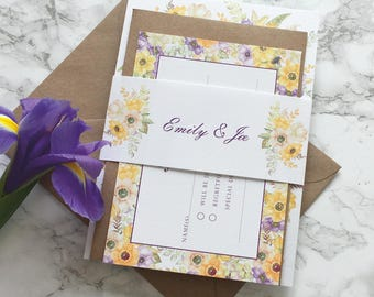 Wedding Invitation Floral Watercolour Wedding Invitation Set with reply card & belly band Wedding Invitation Suite Printed Invitation Sample