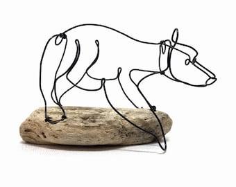 Bear Wire Sculpture, Bear Art, Minimal Sculpture, Calder Inspired Wire Sculpture, 603052507