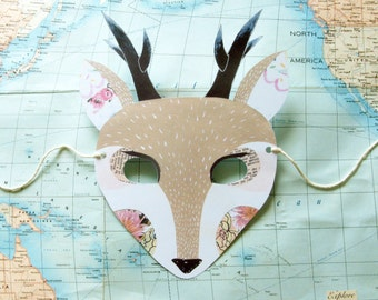 Deer Paper Mask, Woodland Forest Party or Wedding Favor