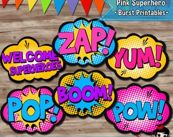 Pink Superhero Burst Party Decorations, Superhero Pop Art, Girls Hero Party Supplies, Party Printables - Digital JPG Files, INSTANT DOWNLOAD