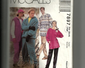 McCall's Misses' and Men's Jacket Vest Top and Pull-on Pants Pattern 7897