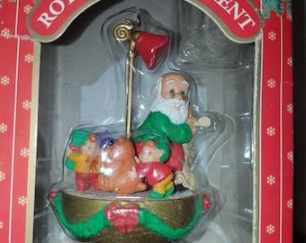 Ornamotion, Santa's list, Vintage spinning ornament, no engine, Santa and elves, vintage Christmas