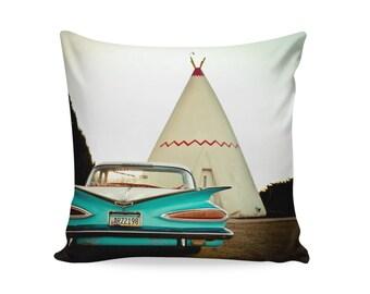 Route 66 Wigwam Motel Pillow Cover | Travel Trailer Decor | Retro Home Decor | Glamping Decor | Route 66 Decor | Gift for Him | Chevy Impala