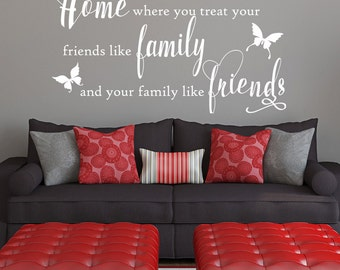 Home where you treat you friends like family and your family like friends, living room, bedroom, hallway, decorating, decorative wall design