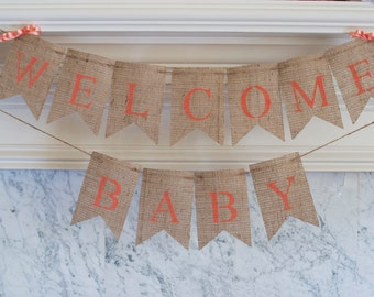 Coral Banner, Welcome Baby Banner, Coral Baby Shower Banner, Welcome Baby Sign, Coral Baby Shower Decor, B104