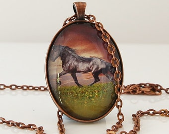 Horse Necklace, Wilderness Necklace, Horse Lover Necklace, Animal Necklace