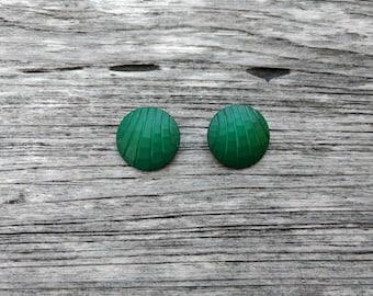 Retro Clip on Earrings - Green Earrings -  Round Earrings - Geometric Jewelry