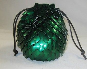 Dice Bag in Scale Mail Knitted Armor Dragonhide