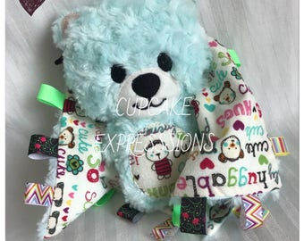 Handmade Little Teddy Bear Rattle and Squeaker With Matching Security Tag Blanket  - Bear Cuddles Huggable - Stuffie, Softie, Plush Blue
