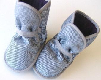Custom Grey Denim Booties - your CHOICE of FLEECE Colors