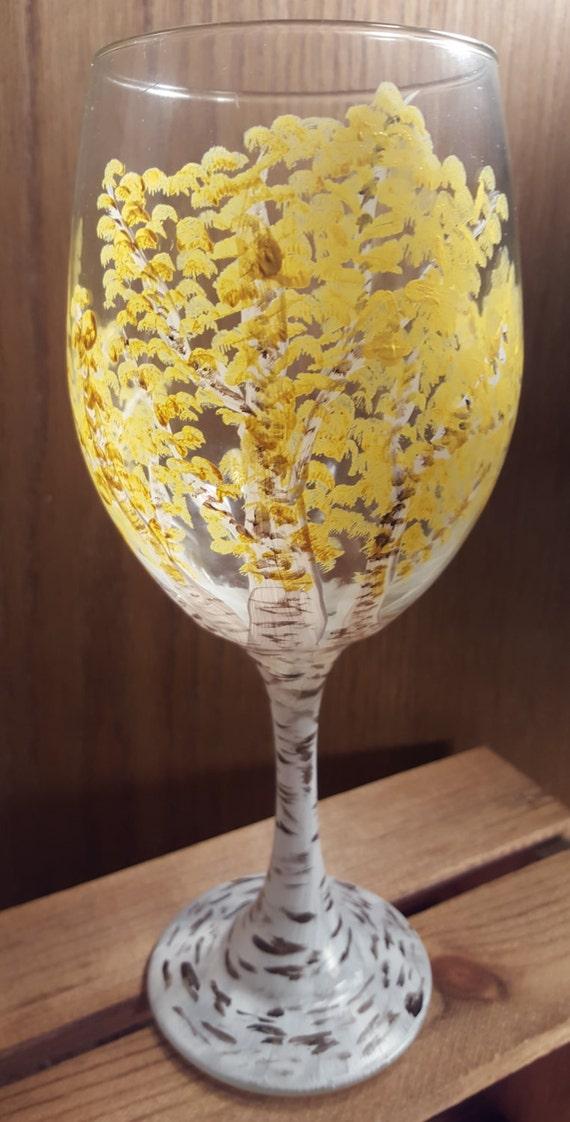 Hand-painted Wine Glass - Northwoods/Birch Tree