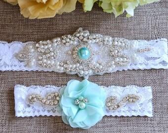 Aqua-Mint - Light Green Wedding Garter, Mint Garter, Crystal Wedding Garter, Bridal Garter , Lace Garter, Wedding Garter, Turquoise Garter