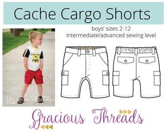 Cache Cargo Shorts pdf sewing pattern 2t-12