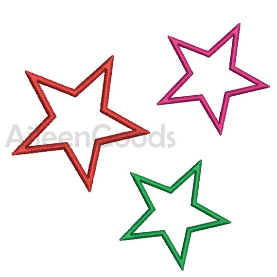 Star Applique Embroidery Design 11 Size 7 File Instant Download