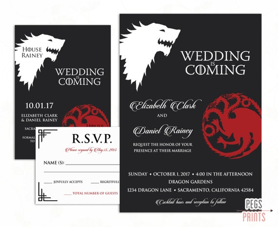 Geek Wedding Invitation Set Game of Thrones Wedding