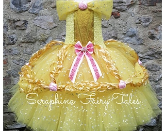 Yellow Princess Tutu Dress - Lined Yellow, Gold & Pink Rose Sparkly Ball Gown. Handmade by Seraphina Fairy Tales.