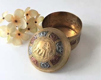 Vintage Trinket Box, Embossed Brass Jewelry Box, Indian Elephant Motif, Domed Ring Presentation Box, Incense Fragrance Boho Tribal Decor