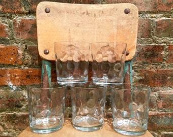 Set of Five Pasabahce Rocks Glasses/Turkish Glass/Thimbprint Glasses