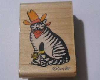 Kliban Texas Cowboy Cat wood mounted rubber stamp 1991 vintage image kitty Rubber Stampede