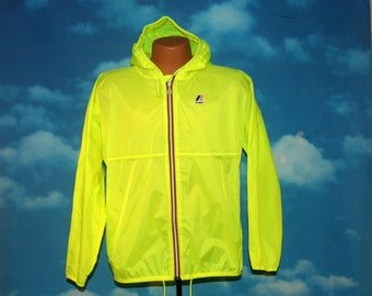 K-Way Neon Yellow Full Zip Hooded Windbreaker Jacket Medium Vintage 1990s