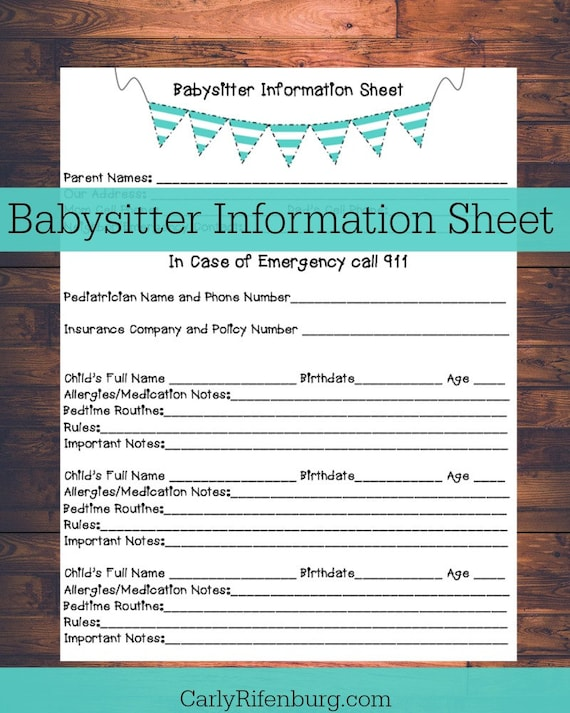 printable babysitter information sheet nanny information contact information printable