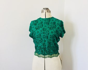 Mid Century Beaded Blouse Emerald Green Lace with All Over Bead Details
