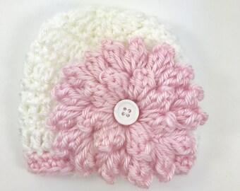 Crochet preemie hat, baby hat, baby girl hat, crochet baby hat, pink baby hat, crochet premie hat