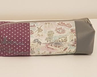 """Square Pouch Gift teacher """"Thank you teacher"""" grey and fig"""