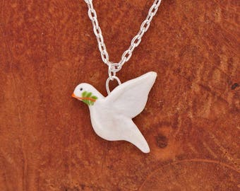 Necklace Peace Dove (Fimo Polymer Clay) Handmade