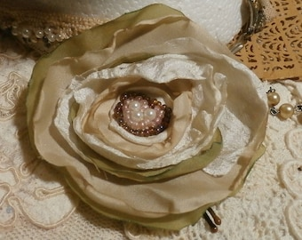 Floral Bobby Pin, Handmade Fabric Flower Hair Accessory, White and Tan
