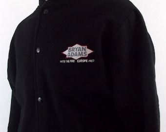 1987 Bryan Adams Into the Fire Europe Wool Vtg Rock Concert Tour Jacket Medium