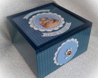 Tea box Wooden tea box Tea Storage Tea Bag Box Tea bag storage Blue checked bear theme box for kitchen dining room housewarming Tea time