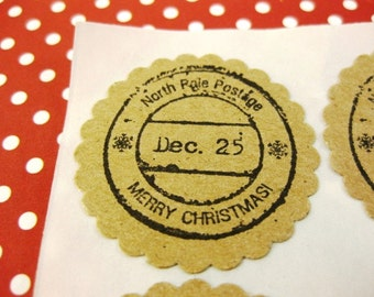 Christmas Stickers North Pole Postage Envelope Seals Eco Friendly Kraft Paper Set of 12