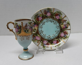 Vintage Bavarian China, Porcelain Cup and Saucer - Couples Courting, Bee Hive Marking, Arnart Imports (C269)