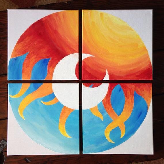 Sun Moon Multiple Canvas Original Acrylic Abstract Painting